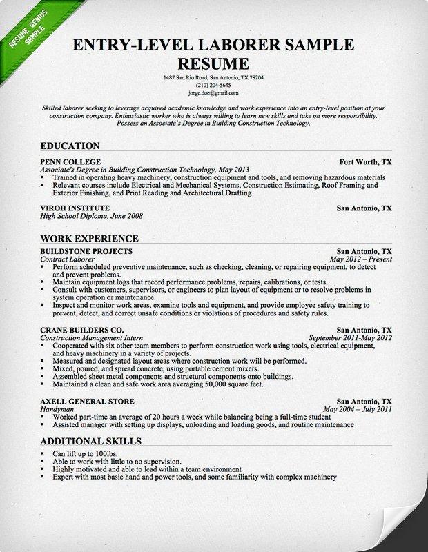 Entry Level Resume Templates Entry Level Construction Resume Sample