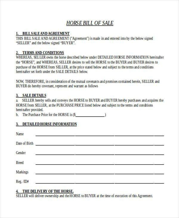 Equine Bill Of Sale Bill Of Sale form In Word