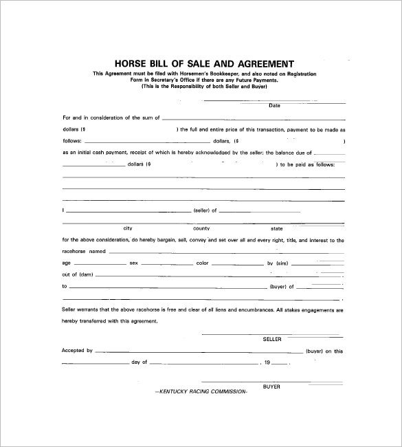 Equine Bill Of Sale Horse Bill Of Sale – 8 Free Sample Example format
