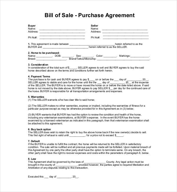Equine Bill Of Sale Sample Horse Bill Of Sale forms 7 Free Documents In Pdf