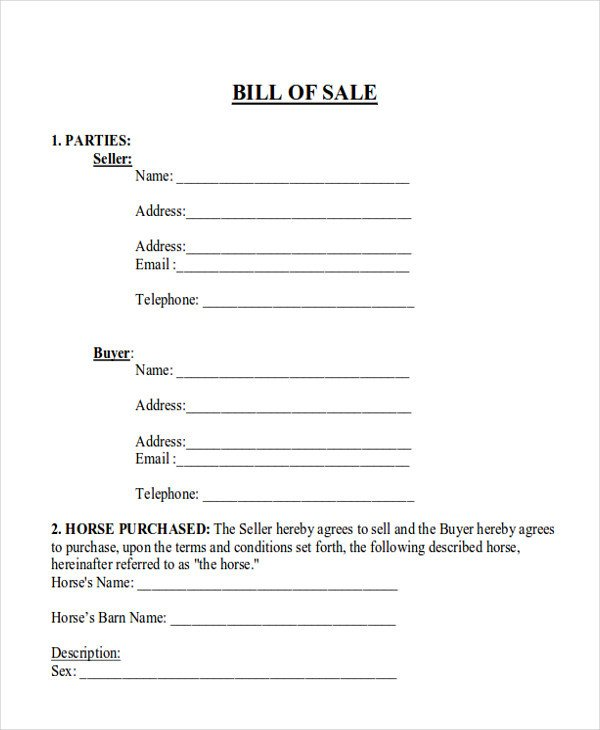 Equine Bill Of Sales 9 Horse Bill Of Sale Examples In Word Pdf
