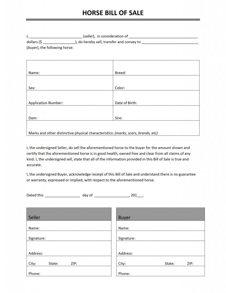 Equine Bill Of Sales Bill Of Sale Word Templates Free Word Templates