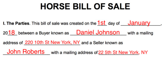 Equine Bill Of Sales Free Horse Bill Of Sale form Word Pdf
