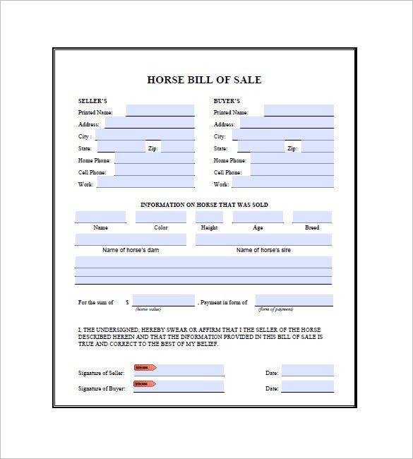 Equine Bill Of Sales Horse Bill Of Sale 9 Free Word Excel Pdf format