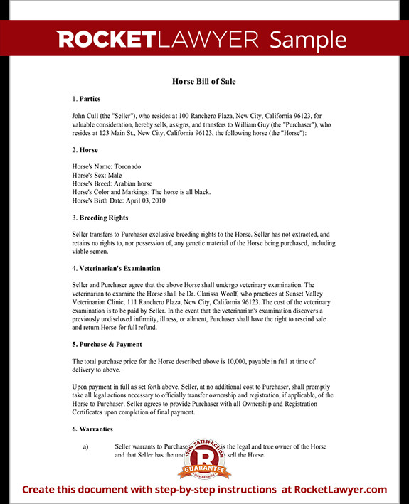 Equine Bill Of Sales Horse Bill Of Sale form Bill Of Sale for Horse Template
