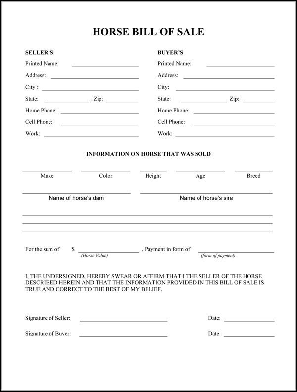 Equine Bill Of Sales Horse Bill Sale form