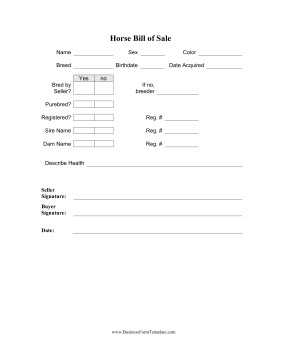 Equine Bill Of Sales Horse Bill Sale Template