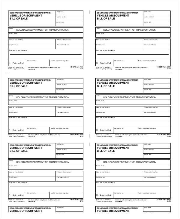Equipment Bill Of Sale Bill Of Sale Template 15 Free Word Pdf Documents