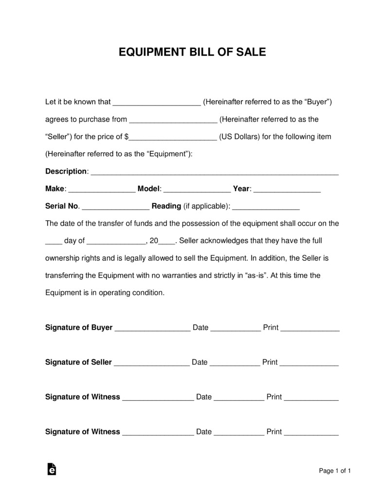 Equipment Bill Of Sale Free Equipment Bill Of Sale form Word Pdf