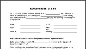 Equipment Bill Of Sale Free Printable Equipment Bill Sale Template form Generic