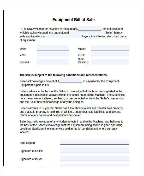 Equipment Bill Of Sale Legal Bill Sale