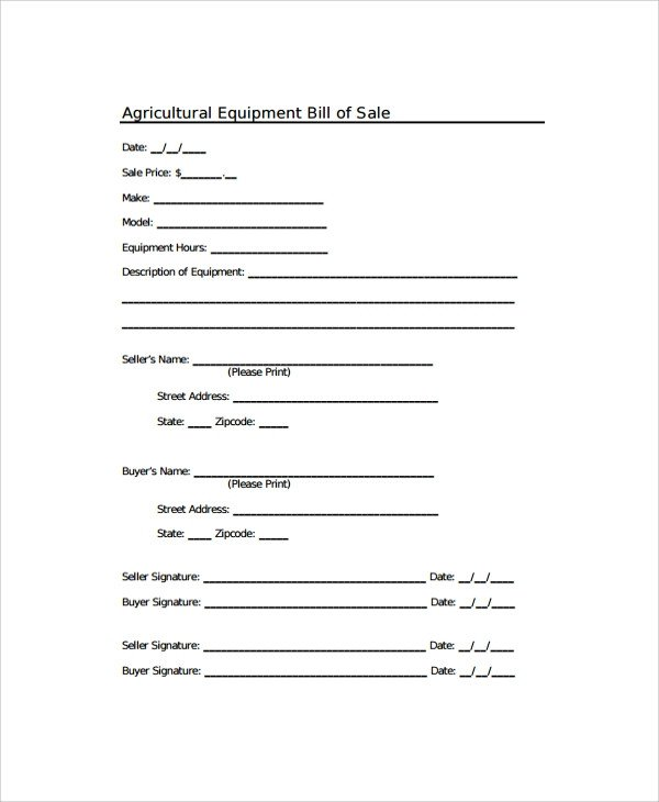 Equipment Bill Of Sale Sample Equipment Bill Of Sale 6 Documents In Pdf Word