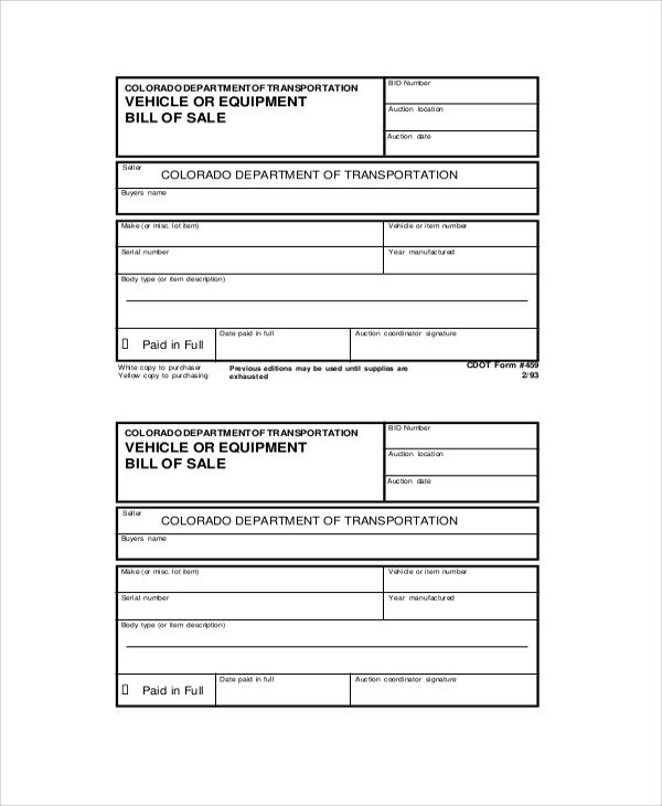Equipment Bill Of Sale Sample Generic Bill Of Sale 7 Documents In Pdf Word
