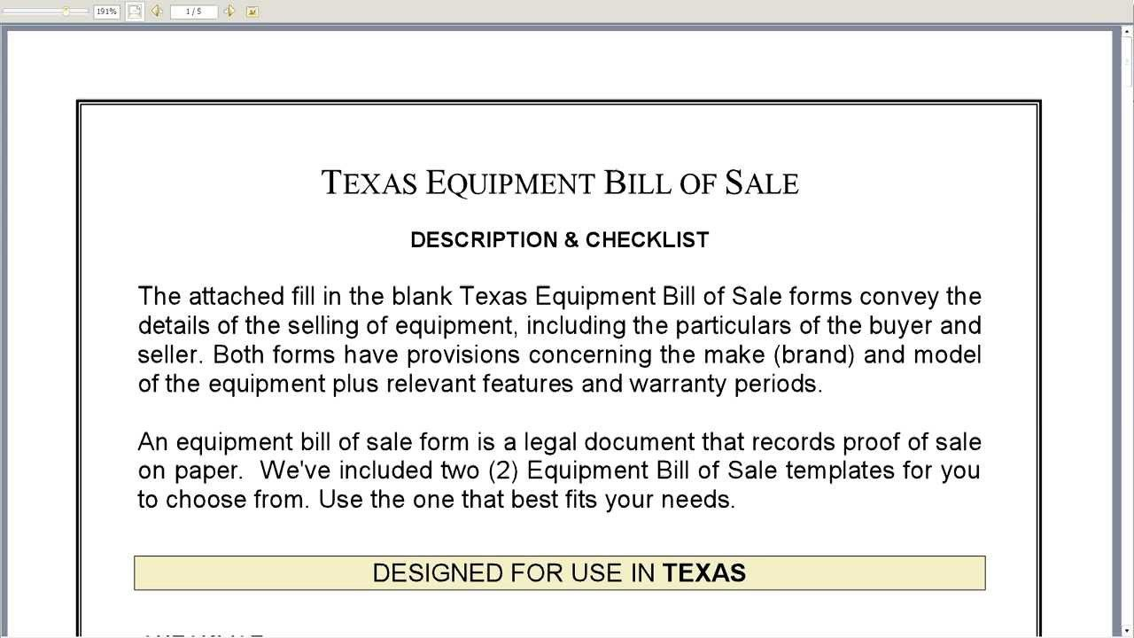 Equipment Bill Of Sale Template Free Printable Equipment Bill Sale Template form Generic