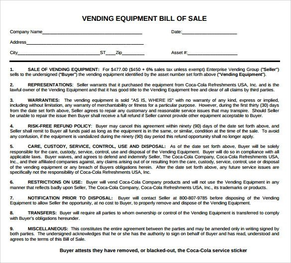 Equipment Bill Of Sale Template Sample Equipment Bill Of Sale Template 7 Free Documents