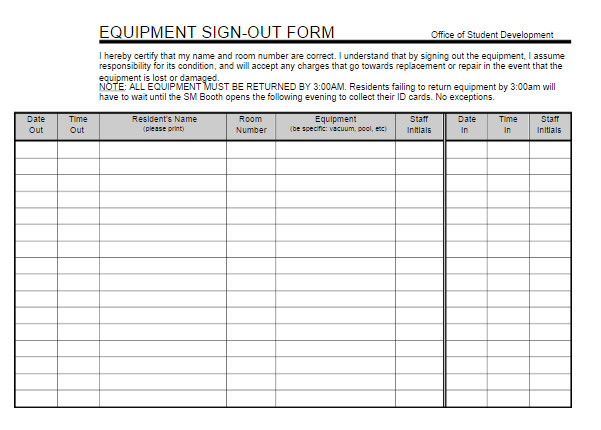 Equipment Checkout Log Equipment Sign Out Sheet
