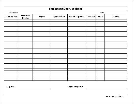 Equipment Checkout Log Free Basic Equipment Sign Out Sheet From formville