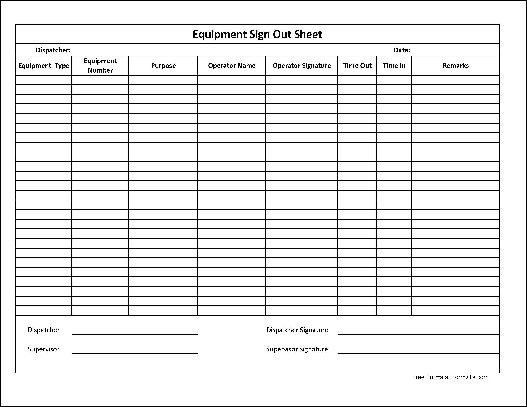 Equipment Checkout Log Free Basic Equipment Sign Out Sheet Supervisor Signature