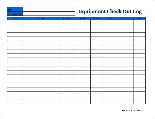 Equipment Checkout Log Free Detailed Equipment Check Out Wide From formville