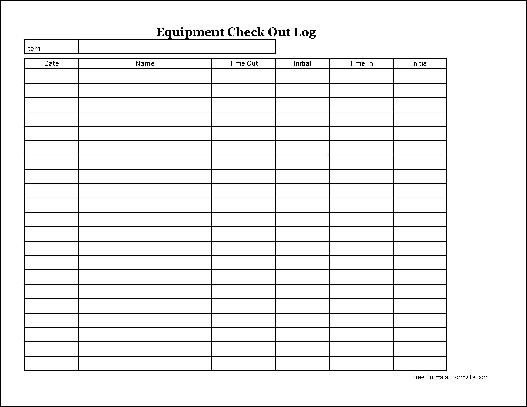 Equipment Checkout Log Free Easy Copy Basic Equipment Check Out Wide From formville