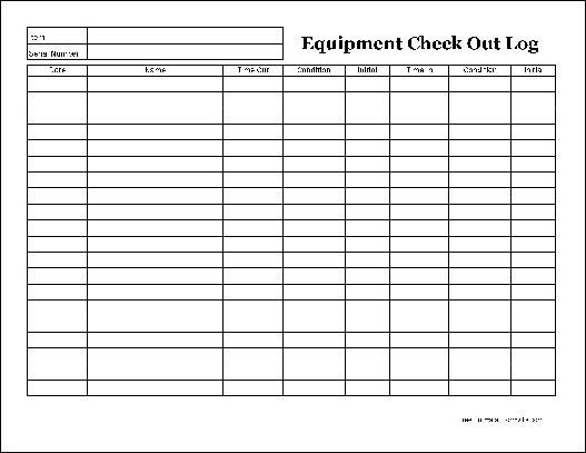 Equipment Checkout Log Free Easy Copy Detailed Equipment Check Out Wide From