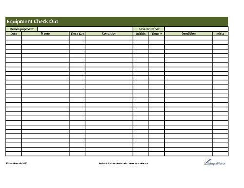 Equipment Checkout Log Printable Equipment Checkout form