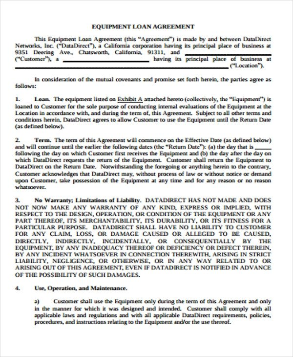 Equipment Loan Agreement Template 25 Loan Agreement form Templates Word Pdf Pages