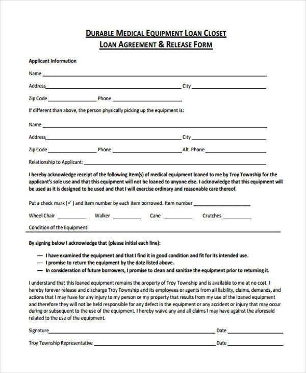 Equipment Loan Agreement Template 40 Printable Loan Agreement forms