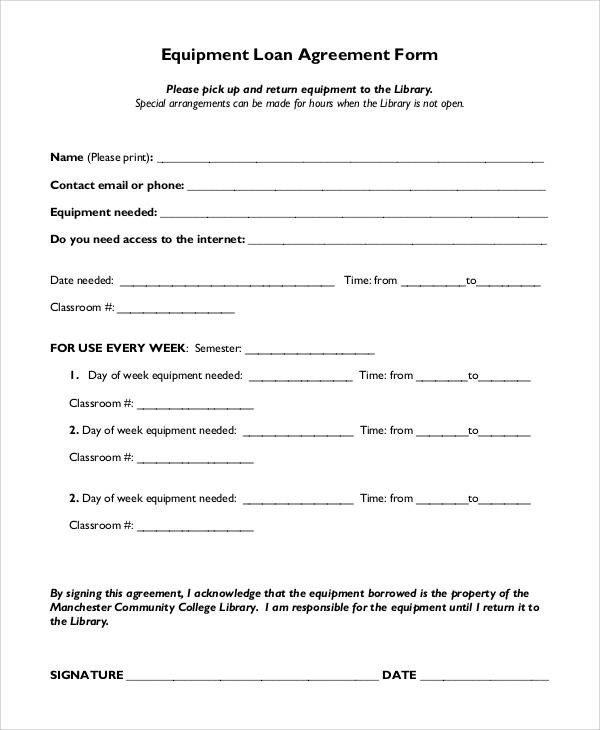 Equipment Loan Agreement Template Basic Agreement form