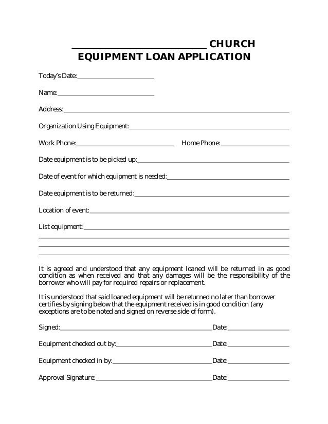 Equipment Loan Agreement Template Equipment Loan Application