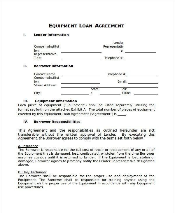 Equipment Loan Agreement Template Loan Agreement Template 18 Free Word Pdf Document