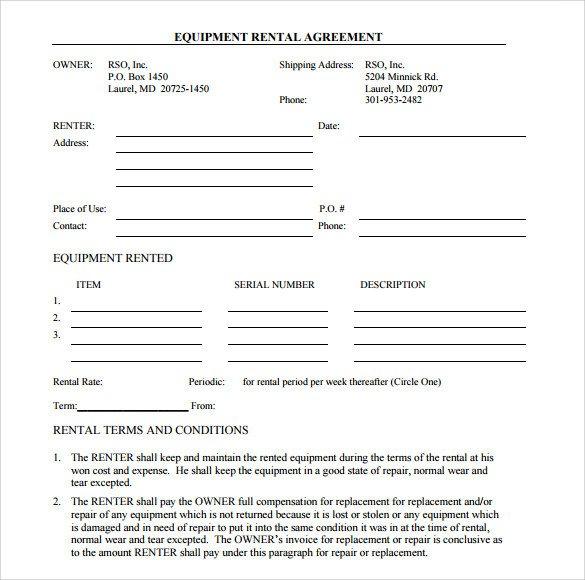 Equipment Loan Agreement Template Sample Equipment Rental Agreement Template 15 Free