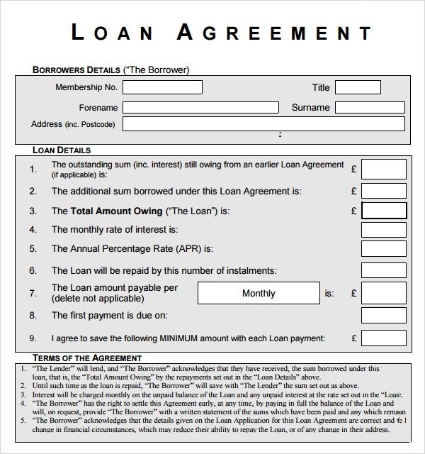 Equipment Loan Agreement Template Sample Loan Agreement 12 Free Documents Download In Pdf