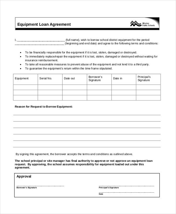 Equipment Loan Agreement Template Sample Loan Agreement form 12 Free Documents In Doc Pdf