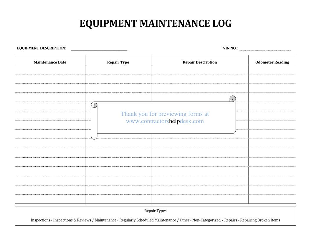 Equipment Maintenance Log Template Excel Contractors Help Desk forms