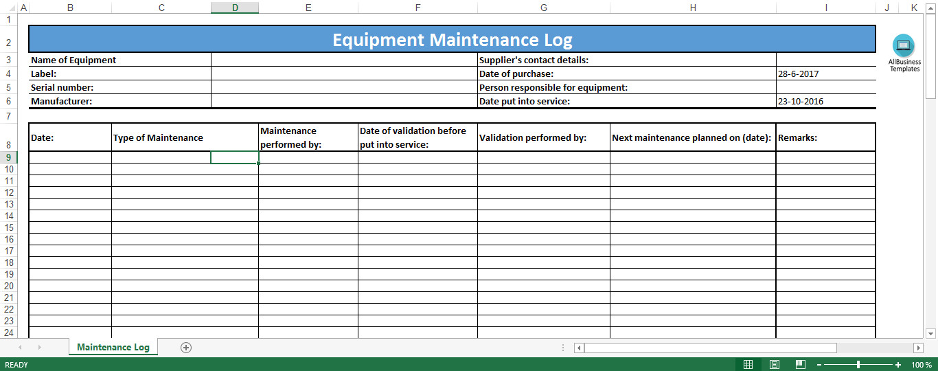 Equipment Maintenance Log Template Excel Equipment Maintenance Log Excel Template