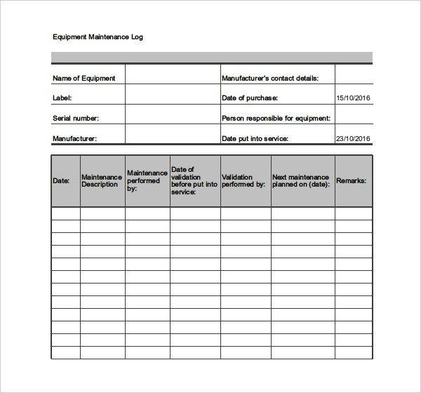 Equipment Maintenance Log Template Excel Equipment Maintenance Log Template Excel
