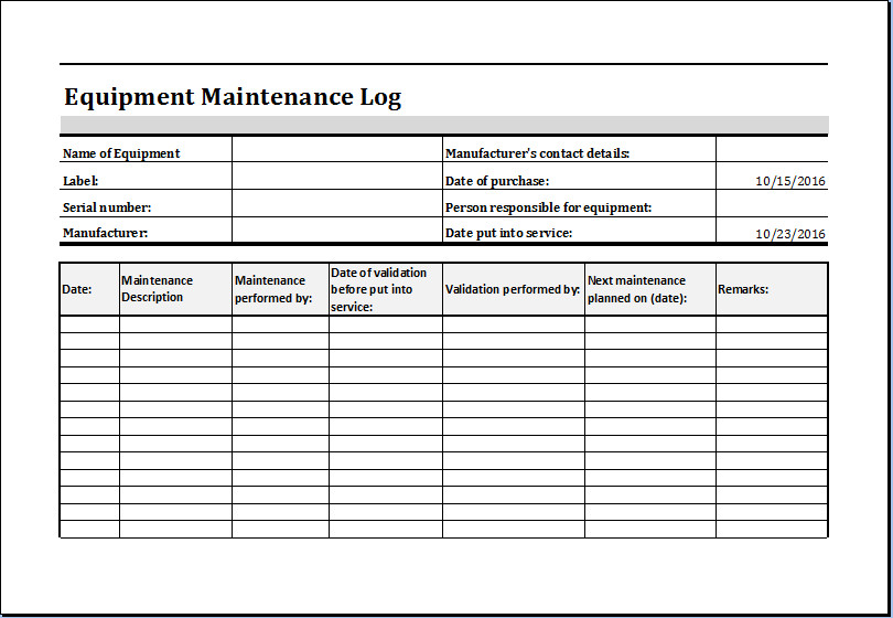 Equipment Maintenance Log Template Excel Equipment Maintenance Log Template Ms Excel