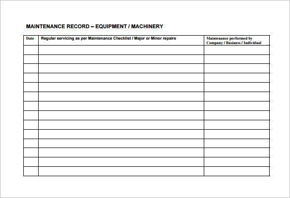 Equipment Maintenance Log Template Excel Equipment Maintenance Schedule Template Excel