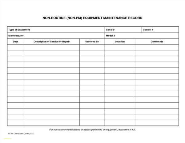 Equipment Maintenance Log Template Excel Heavy Equipment Maintenance Spreadsheet Spreadsheet