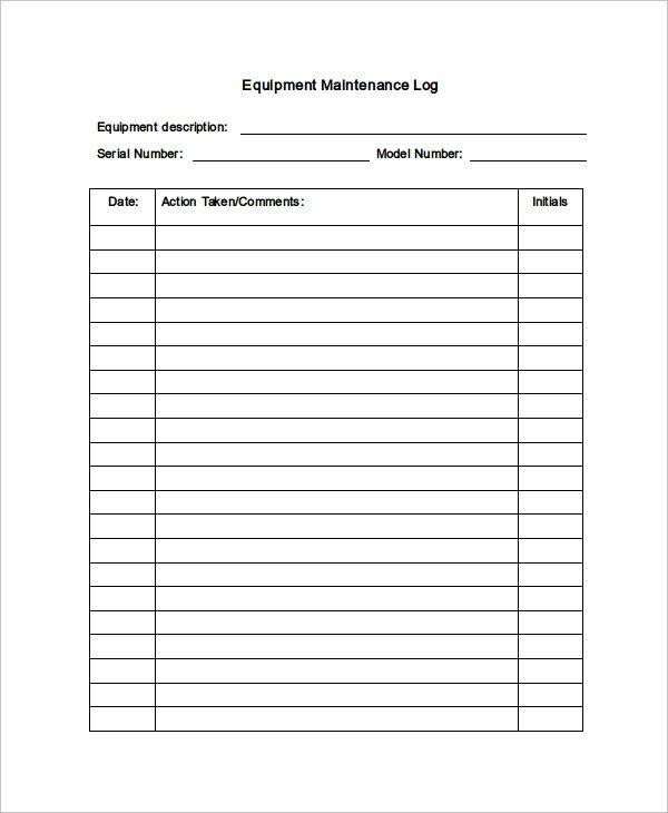 Equipment Maintenance Log Template Excel Maintenance Log Template 11 Free Word Excel Pdf