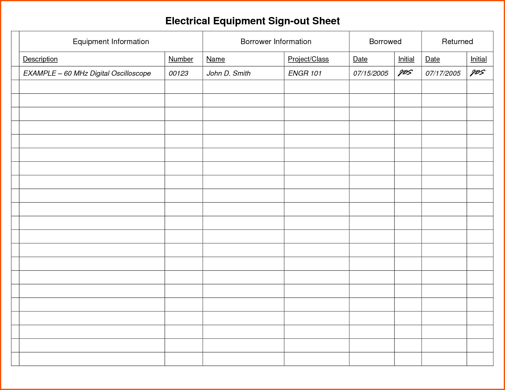 Equipment Sign Out Sheet 14 Equipment Sign Out Sheet