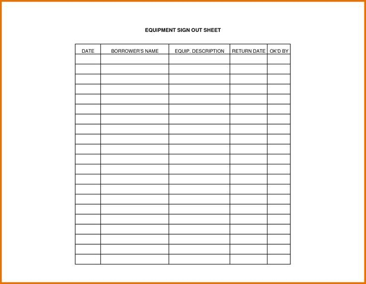 Equipment Sign Out Sheet Equipment Sign Out Sheet Template