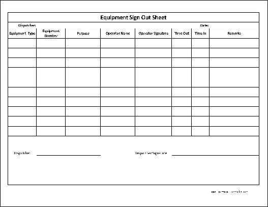 Equipment Sign Out Sheet Free Basic Equipment Sign Out Sheet Wide Row From formville