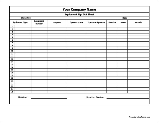 Equipment Sign Out Sheet Free Personalized Equipment Sign Out Sheet Numbered