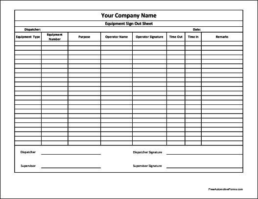 Equipment Sign Out Sheet Free Personalized Equipment Sign Out Sheet Supervisor