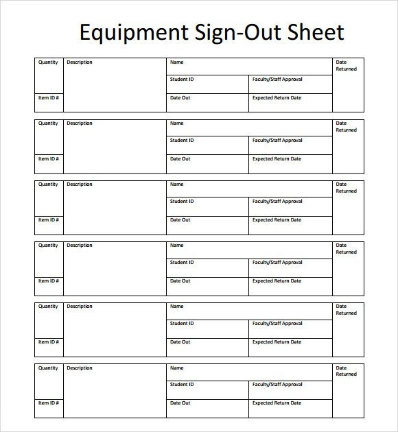 Equipment Sign Out Sheet Sample Sign Out Sheet Template 8 Free Documents