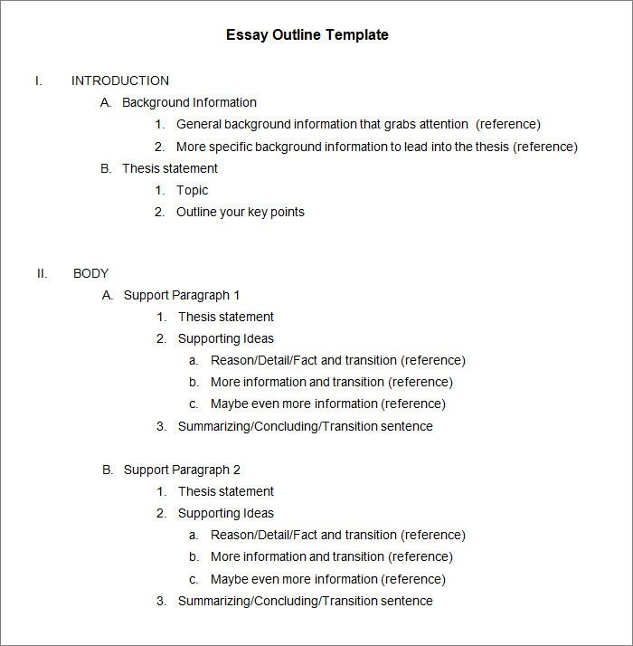 Essay Outline Template Word 21 Outline Templates Pdf Doc