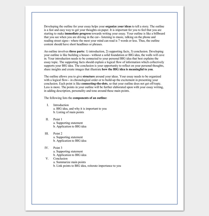 Essay Outline Template Word 30 Essay Outline Templates Free Samples Examples and