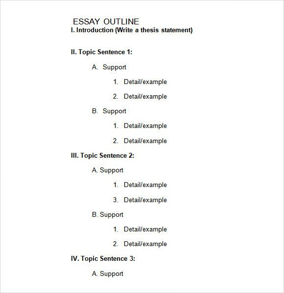 Essay Outline Template Word Sample Blank Outline Template 7 Free Documents In Pdf Doc